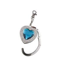 Promotion Gift Heat Shape Foldable Metal Crystal Purse Bag Hanger