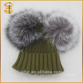 Factory Price Real Fox Fur Crochet Pom Pomk Winter Hat
