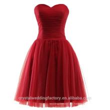 Venta al por mayor corto de dama de honor baratos vestidos 2016 Soft Tulle vestido de noche con plisados mujeres vestidos de baile LBB06