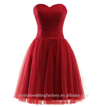 Wholesale Short Cheap Bridesmaid Dresses 2016 Soft Tulle Evening Dress with Pleats Women Prom Dresses LBB06