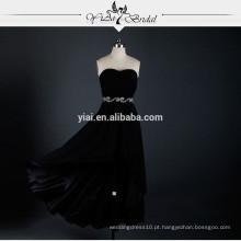 RSE622 Preto Curto Frente Longo Voltar Vestido de Noiva Vestido formal Padrão Casual