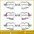 Cristal de acero quirúrgico en forma de corazón Cristal pezón Jeweled Shields Anillos Barbell
