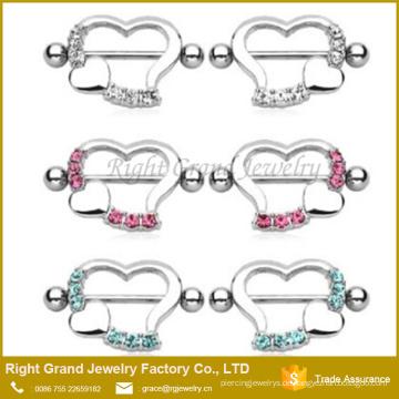 Chirurgenstahl Herzförmige Kristall Jewelled Nipple Shields Ringe Barbell