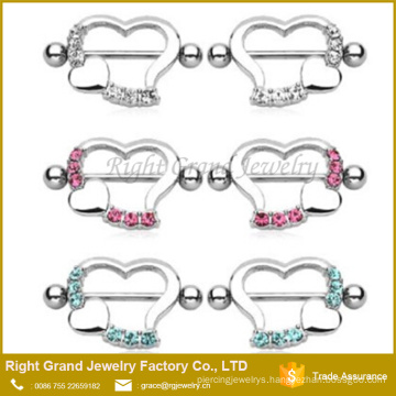 Surgical Steel Heart Shaped Crystal Jeweled Nipple Shields Rings Barbell