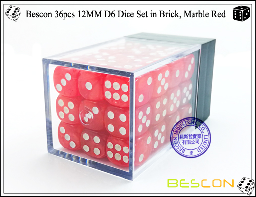 Bescon 36pcs 12MM D6 Dice Set in Brick, Marble Red-2