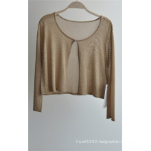 Long Sleeve Opean Pure Color Knit Cardigan for Ladies