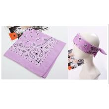 Promotional Lavender Cotton Paisley Head Wrap Bandana