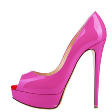 sky high heel open toe hot  pink patent PU leather women dress shoes big size  US 11 lady thin  high heel pump shoe