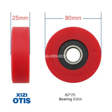 Red Step Roller untuk Xizi OTIS Escalator 80 * 25 * 6304