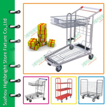 Warehouse steel hand push trolley cart