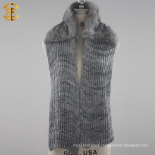 Winter Fashionable Real Rabbit Fur Kniting Scarf With Fur For Women