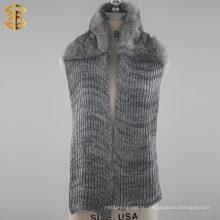 Зимний модный настоящий кролик из меха вязаный шарф с мехом для женщин
