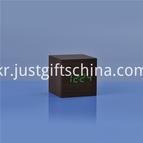 Promotional LED Wooden Square Desk Clock 1