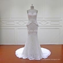 HD019 luxueux et à la mode deux pièces de poisson coupé en dentelle robes de mariée