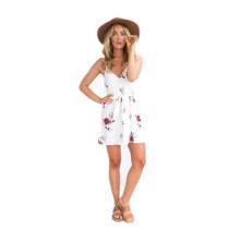 Las mujeres del verano correa de espagueti de playa de una pieza vestido corto sexy vestido de dama adultos vestido de fiesta de las muchachas