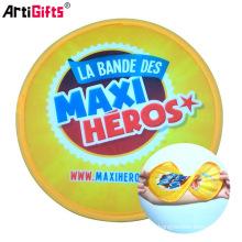 Ventilador plegable de frisbee de nylon de poliéster promocional de gama alta