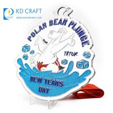 Unique design custom enamel glitter cartoon polar bear new years day souvenir medal with blank ribbon