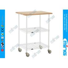 Custom 3 Tiers Chrome Wire Shelving Flat Shelf Trolley , 100kg / Layer