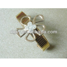 Rose ouro pulseira de aço inoxidável pulseira strass