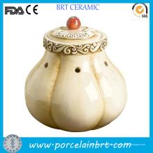 Decoración de cerámica original del tarro de almacenamiento del ajo