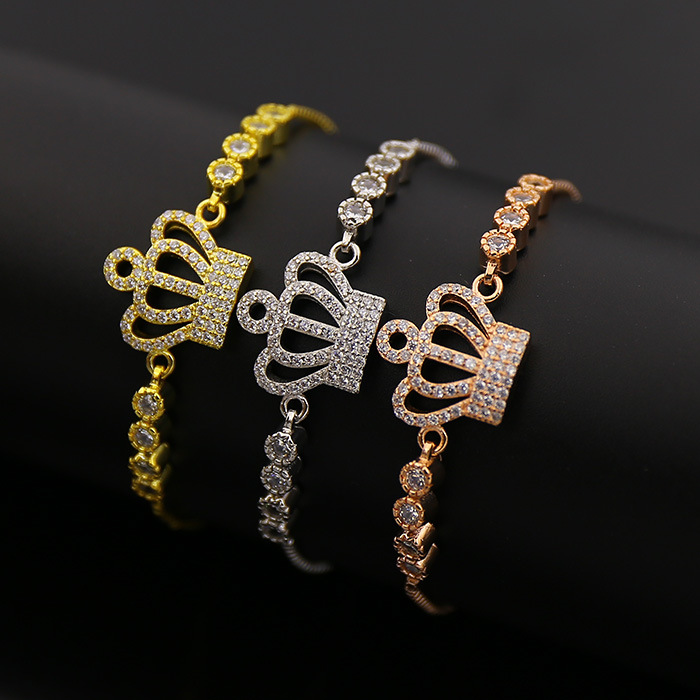 Micro Zicro Pave Crown Charms Design Bracelet