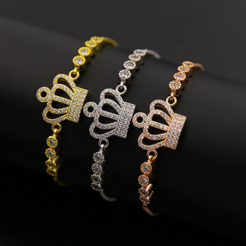 China for Adjustable Cz Copper Bracelet Micro Zicro Pave Crown Charms Design Bracelet export to Indonesia Factories