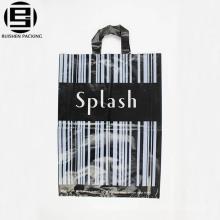 Stripes noir pas cher personnalisé boucle poignée sac pour faire du shopping