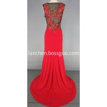 Illusion Beading Celebrity Style Long Evening Dress
