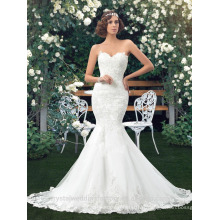 Romantic Backless 2017 Appliques magnifiques Robe De Mariage Robe de mariée Robe de mariée taille grande Princesse sirène Robe de mariée LWM277