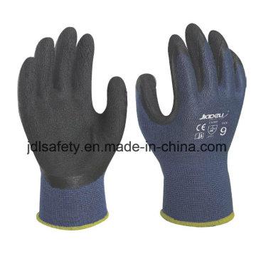 Guante de trabajo de la fibra de bambú azul con espuma látex de capa (L3014)