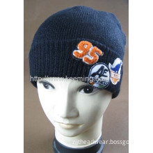 Double Layer Knitted Hat With Applique Embroidery And Towel Embroidery