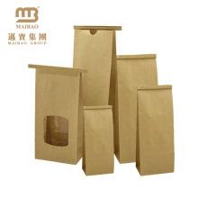 Taille faite sur commande imperméable à la graisse Voir à travers les sacs de papier kraft de Brown de fenêtre avec la cravate de bidon pour l'emballage alimentaire