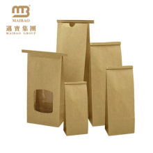 Greaseproof Custom Size See Through Window Brown Kraft Paper Bags With Tin Tie For Food Packaging