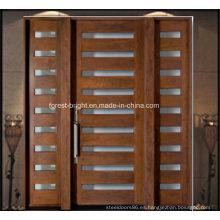 Entrada principal Puerta de madera maciza con 2 puertas laterales de vidrio