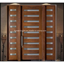 Porta de madeira maciça de entrada principal com 2 laterais laterais de vidro