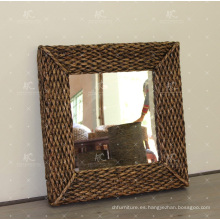 Clásico de agua natural Hyacinth Espejo Marco Muebles de mimbre