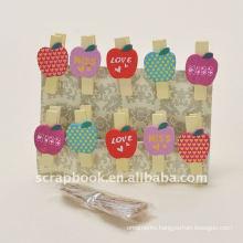 paper clip clips wooden clip apple shape clips cute paper clip