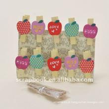 clipe clipes clip de madeira apple forma clipes clipe de papel bonito