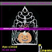 Ab flower smiling pumpkin halloween Tiara Crown