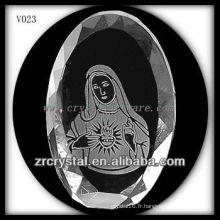 Cristal ovale K9 avec image de sablage
