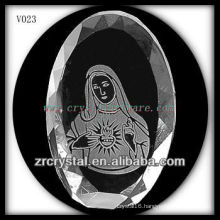 K9 Oval Crystal with Sandblasting Image