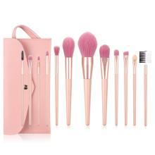 Pinceles de maquillaje rosa con encanto con bolsa de PU