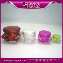 Atacado Vazio único diamante Forma Creme Jar e Cosméticos Embalagem, 5ml 15ml 30ml 50ml Acrílico Cosmético Jar