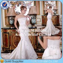 Prinzessin Style Elfenbein Meerjungfrau Brautkleid trägerlosen Appliqued Lace Schöne Brautkleid aus China Lieferanten