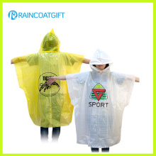 Custom Brand Logo Printed PE Disposable Raincoat for Promotion