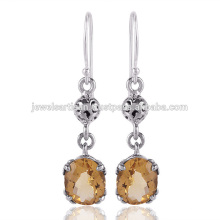 Natural Citrine Gemstone 925 Sterling Silver Earring