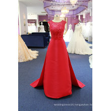 Lace Satin Sheath Beading Evening Gown