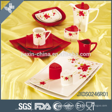 Forma Quadrada quente Conjunto de Jantar de Porcelana, louça de impressão decalque, conjunto de jantar Sólida