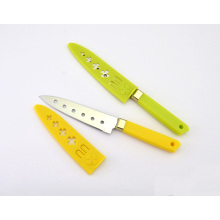 Couteaux utilitaires en acier inoxydable, couteaux Sashimi, couteaux à 6 trous et gaine en plastique