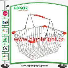 Alambre de acero doble compras cestas con piezas de plástico esquina